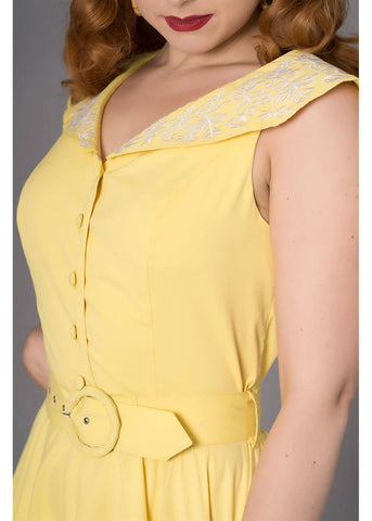Sheen Freda 50's Swing Dress Yellow