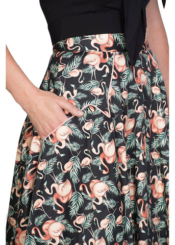 Banned Flamingo Honnie 50's Swing SKirt Black