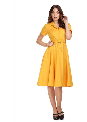 Collectif Caterina 40's Swing Dress Mustard