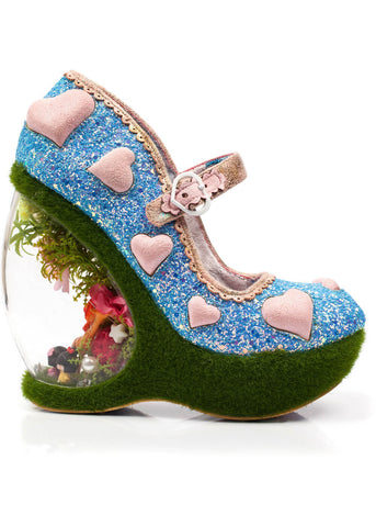 Irregular Choice Forbury Gardens Wedges Blue Pink