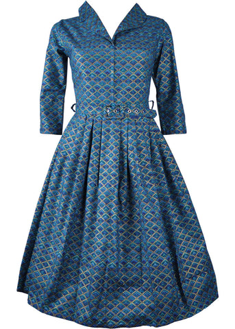 Victory Parade Shirley Geo 40's Swing Dress Blue