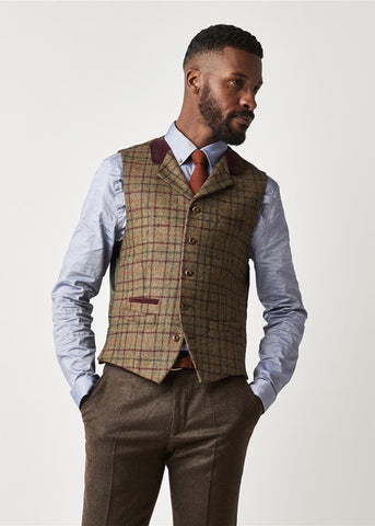 Gibson London Wessex Check Sage Waistcoat Burgundy Green