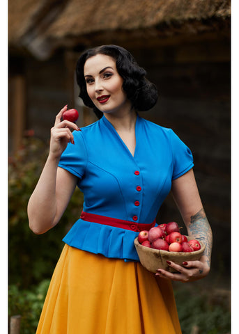 Miss Candyfloss Mary Blue 40's Top Blue