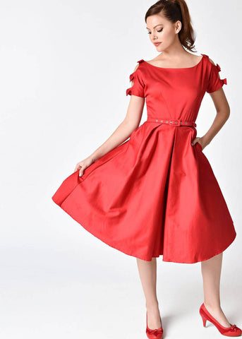 Unique Vintage Selma Bow 50's Dress Red