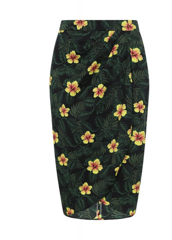 Collectif Kala Tropical Hibiscus 50's Sarong Skirt Multi