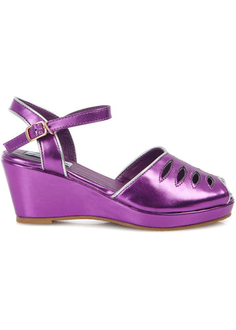 Lulu Hun Lily 40's Wedges Metallic Purple