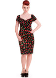 Hell Bunny Cherry Pop Pencil Dress Black