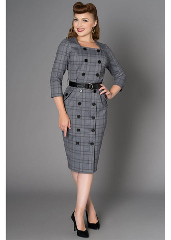 Sheen Jasmine Tartan 60's Pencil Dress Black White