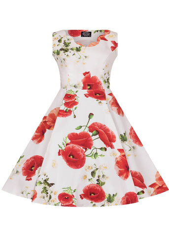Hearts & Roses Kids Opium Poppy Floral 50's Swing Dress White