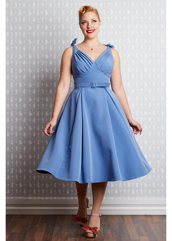 Miss Candyfloss Bambina Regina 50's Swing Dress Blue