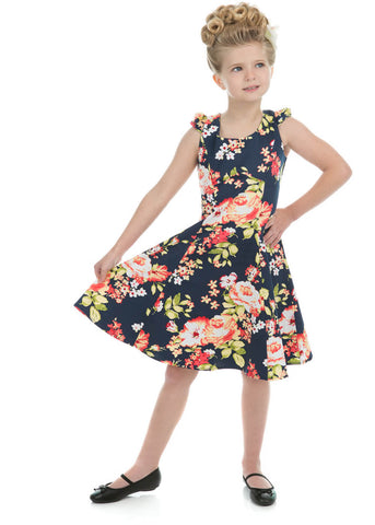 Hearts & Roses Kids Jennifer Floral 50's Dress Navy