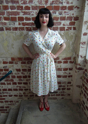 Seamstress of Bloomsbury Peggy Rainbow Spot 40's Dress