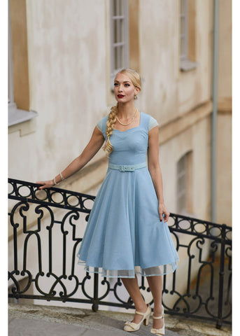 Miss Candyfloss Ella Regina 50's Swing Dress Blue