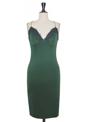 White Gatsby Slip Dress Green