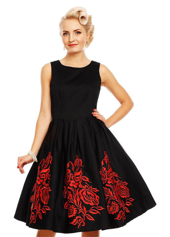 Dolly & Dotty Annie Embroided Floral 50's Swing Dress Black