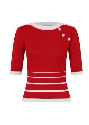 Collectif Armanda Striped 60's Jumper Red