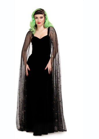 Collectif Celeste Occasion 50's Maxi Dress With Cape Black