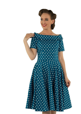 Dolly & Dotty Darlene Polkadot 50's Swing Peacock Blue