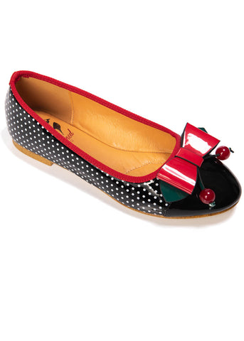 Banned Marilou Polkadot Flats Black Red