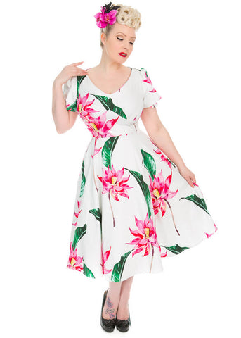 Hearts & Roses Andromeda 50's Swing Dress White