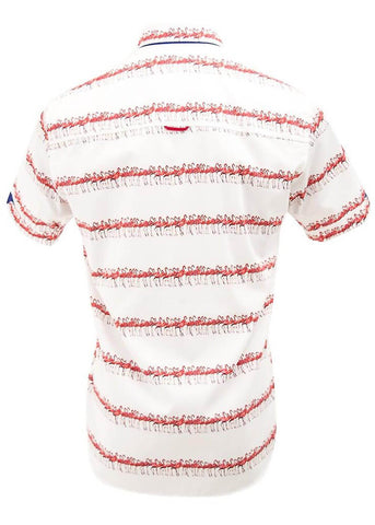 Claudio Lugli Mens Flamingo Line Up Shirt White