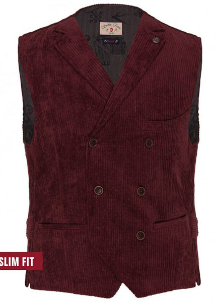 Club of Gents Saville Row Mathew Corduroy Waistcoat Bordeaux