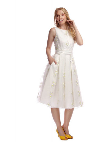 Collectif Vanessa Daisy 50's Swing Dress Ivory