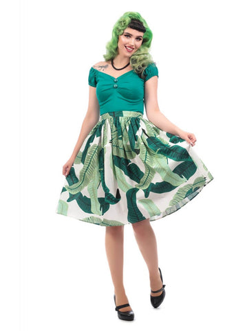 Collectif Jasmine Banana Leaf 50's Swing Skirt Green
