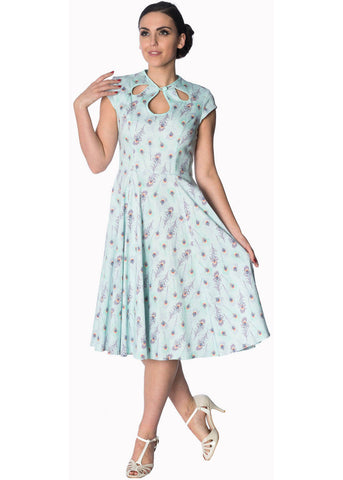 Banned Peacock Feather 50's Swing Dress Blue