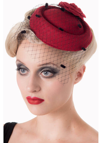 Banned Marilyn 50's Fascinator Burgundy Colour