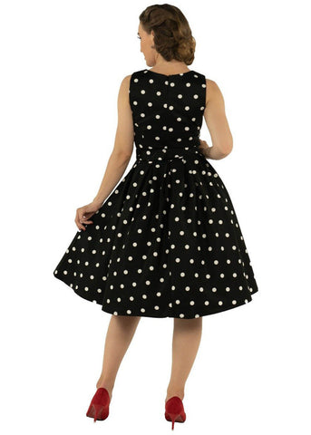 Dolly & Dotty Annie Scattered Polkadots 50's Swing Dress Black White
