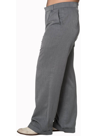 Banned Mens Get In Line Trousers Grey
