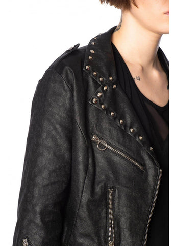 Banned Glam Studs 80's Biker Jacket Black