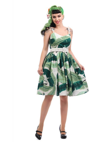 Collectif Jade Banana Leaf 50's Swing Dress Green