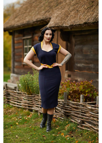Miss Candyfloss Tremaine Lee 50's Pencil Dress Navy Mustard