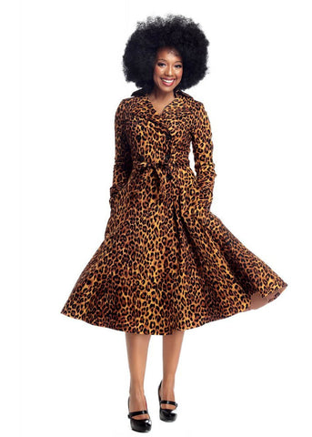 Collectif Scarlett Leopard 50's Trenchcoat Brown