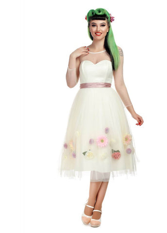 Collectif Flora Occasion 50's Swing Dress Ivory