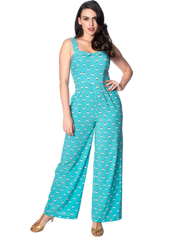 Banned Geo 60's Jumpsuit Aqua Blue