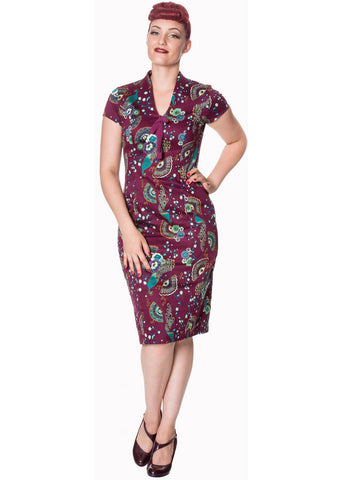 Banned Frankie Peacock 50's Pencil Dress Purple