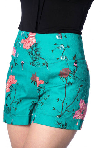 Banned Peacock Baroque 50's Shorts Teal Colour
