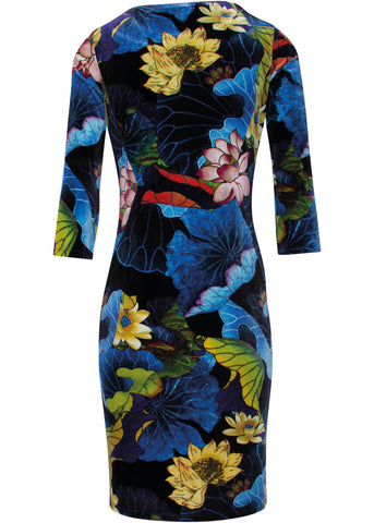 Smashed Lemon Hypnotizing Flowers 60's Pencil Dress Black