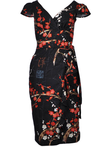 Victory Parade Oriental Blossom Waterfall 40's Dress Black