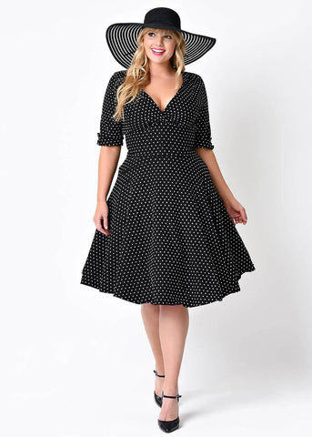 Unique Vintage Delores Polkadot 50's Dress Black