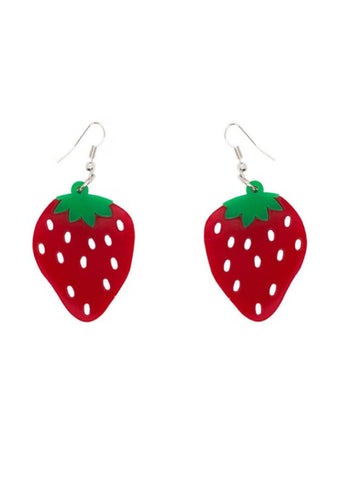 Collectif Strawberry Acrylic Drop Earrings Red