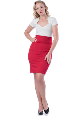 Rock Steady Clothing Audrey 50's Pencil Skirt Red