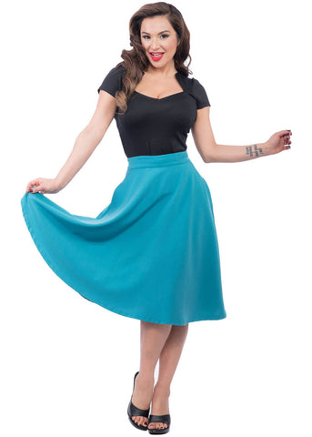 Rock Steady High Waist Thrills 50's Swing Skirt Teal