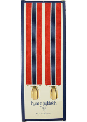 Hunt & Holditch Braces Racer Stripe with Golden Clips Red