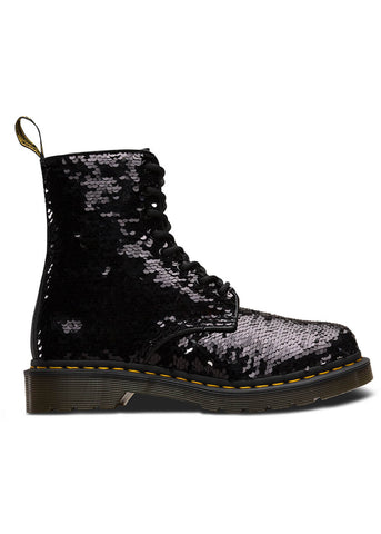 Dr. Martens 1460 Pascal Sequin Lace Up Boots Black Silver