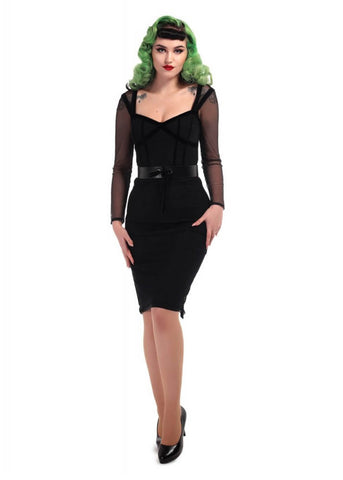 Collectif Sierra 60's Pencil Dress Black