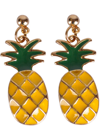 Succubus Pineapple Glossy Earrings Yellow